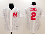 Mens Majestic New York Yankees #2 Derek Jeter Red Number White Cool Base Jersey