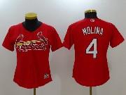 Women Mlb St. Louis Cardinals #4 Yadier Molina Red Cool Base Jersey