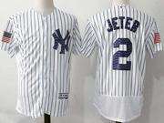 Mens Majestic New York Yankees #2 Derek Jeter White 2017 Stars And Stripes Flex Base Jersey