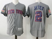 Mens Majestic New York Yankees #2 Derek Jeter Grey 2017 Stars And Stripes Flex Base Jersey