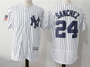 Mens Majestic New York Yankees #24 Gary Sanchez White 2017 Stars And Stripes Flex Base Jersey