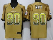 Mens Pittsburgh Steelers #90 T. J. Watt Drift Fashion Gold Elite Jersey
