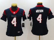 Women Nfl Houston Texans #4 Deshaun Watson Blue (white Number) Vapor Untouchable Limited Jersey