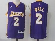 Mens Nba Los Angeles Lakers #2 Lonzo Ball Purple Road Jersey
