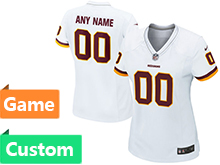 Womens Washington Redskins (custom Made) White Game Jersey