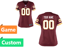 Womens Washington Redskins (custom Made) Red Game Jersey