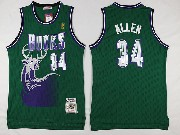 Mens Nba Milwaukee Bucks #34 Ray Allen Green Hardwood Classic Swingman Jersey