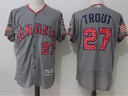 Mens Majestic Los Angeles Angels #27 Mike Trout Grey Stars & Stripes Flex Base Jersey