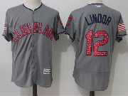 Mens Majestic Los Angeles Angels #12 Martin Maldonado Grey Stars & Stripes Flex Base Jersey