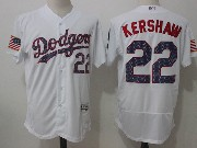 Mens Mlb Los Angeles Dodgers #22 Clayton Kershaw White Stars & Stripes Flex Base Jersey