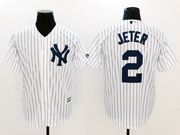 Mens Mlb New York Yankees #2 Derek Jeter White Stripe Cool Base Jersey