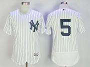 Mens Mlb New York Yankees #5joe Dimaggio (no Name) White Stripe Flex Base Jersey