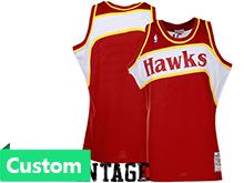Nba Atlanta Hawks (custom Made) Red Hardwood Classics Throwback Jersesy