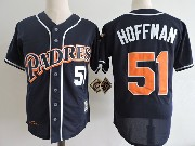 Mens Mlb San Diego Padres #51 Trevor Hoffman Navy Blue Throwbacks Jersey