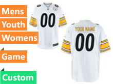Mens Women Youth Nfl Pittsburgh Steelers Custom Made White Game Jersey