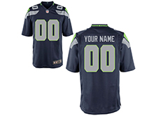 Mens Womens Youth Nfl Seattle Seahawks (custom Made) Dark Blue Game Jersey