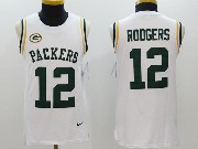 Mens   Green Bay Packers #12 Aaron Rodgers White Color Rush Tank Top Jersey