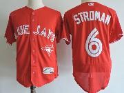 Mens Majestic Toronto Blue Jays #6 Marcus Stroman New Red Flex Base Jersey