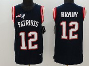 Mens   New England Patriots #12 Tom Brady Blue Color Rush Tank Top Jersey