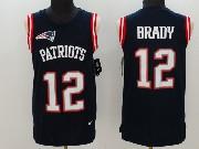 Mens   New England Patriots #12 Tom Brady Blue Color Rush Tank Top Jersey