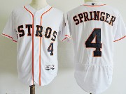 Mens Majestic Houston Astros #4 George Springer White Flex Base Jersey