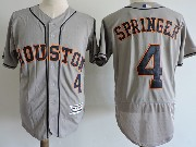 Mens Majestic Houston Astros #4 George Springer Gray Flex Base Jersey
