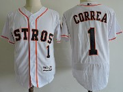 Mens Majestic Houston Astros #1 Carlos Correa White Flex Base Jersey