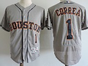 Mens Majestic Houston Astros #1 Carlos Correa Gray Flex Base Jersey