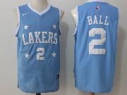Mens Nba Los Angeles Lakers #2 Lonzo Ball Blue Jersey