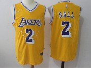 Mens Nba Los Angeles Lakers #2 Lonzo Ball Gold Star Home Nike Jersey