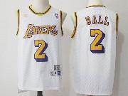 Mens Nba Adidas Los Angeles Lakers #2 Lonzo Ball White Hardwood Classics Jersey