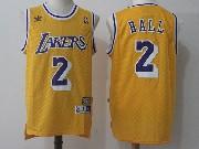 Mens Nba Adidas Los Angeles Lakers #2 Lonzo Ball Gold Hardwood Classics Jersey