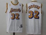 Mens Nba Los Angeles Lakers #32 Johnson White Hardwood Classics Jersey