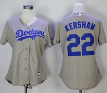 Women Mlb Los Angeles Dodgers #22 Clayton Kershaw Gray Jersey