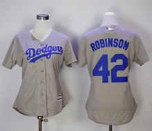 Women Mlb Los Angeles Dodgers #42 Ackie Robinson Gray Jersey