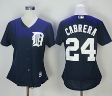 Women Mlb Detroit Tigers #24 Miguel Cabrera Blue Jersey
