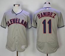Mens Majestic Cleveland Indians #11 Jose Ramirez Gray Flex Base Jersey
