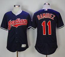 Mens Majestic Cleveland Indians #11 Jose Ramirez Dark Blue Flex Base Jersey