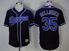 Mens Majestic Los Angeles Dodgers #35 Cody Bellinger Black Cool Base Jersey