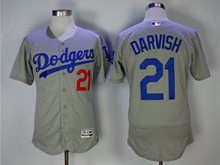 Mens Majestic Los Angeles Dodgers #21 Yu Darvish Gray Flex Base Jersey