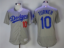 Mens Majestic Los Angeles Dodgers #10 Justin Turner Gray Flex Base Jersey