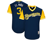 Mens Mlb Milwaukee Brewers #3 Orlando Arcia ( El Niño) Majestic Navy 2017 Players Weekend Authentic Jersey