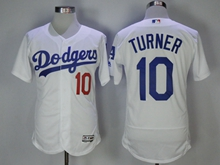 Mens Majestic Los Angeles Dodgers #10 Justin Turner White Flex Base Jersey