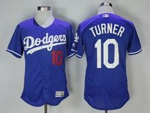 Mens Majestic Los Angeles Dodgers #10 Justin Turner Blue Flex Base Jersey