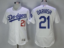 Mens Majestic Los Angeles Dodgers #21 Yu Darvish White Flex Base Jersey