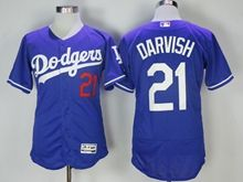 Mens Majestic Los Angeles Dodgers #21 Yu Darvish Blue Flex Base Jersey