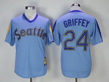 Mens Mlb Seattle Mariners #24 Ken Griffey Jr Blue Pullover Throwback Cool Base Jersey