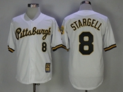 Mens Majestic Pittsburgh Pirates #8 Willie Stargell White Throwback Cool Base Jersey