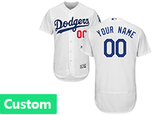 Mens Majestic Los Angeles Dodgers (custom Made) White Flex Base Jersey