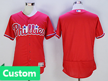 Mens Mlb Philadephia Phillies (custom Made) Red Flex Base Jersey